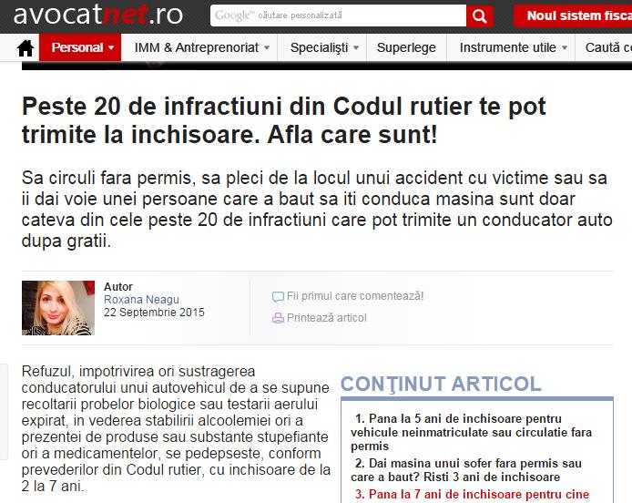 Avocatnet.ro te trimite la închisoare pentru infracţiuni care nu-s în Codul Rutier
